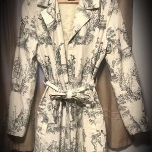 Jackets & Blazers - French toile belted trench coat ivory and black